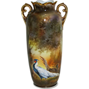 """R.S. Prussia 10"""" Double Handled Vase- """"Chinese Pheasants"""""""