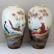 R.S. Poland Vases- Chinese Pheasants & Golden Pheasants- PAIR