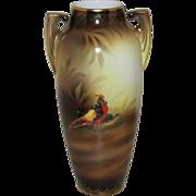 """SALE R.S. Prussia 14 1/2"""" Vase- """"Golden Pheasants"""""""