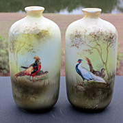 "R.S. Prussia 4 ½"" ""Chinese Pheasant & Golden Pheasant Vases"