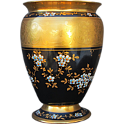 H.P. Osborne Studio Urn- Blue Flowers w/ Black & Heavy Gold