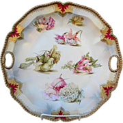 "R.S. Prussia 11 1/4"" Rope Mold Cake Plate- Iridescent w/Flowers & Red Trim"