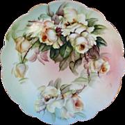 H.P. Limoges Artist E. Miler Plates w/White &Yellow Roses (2)
