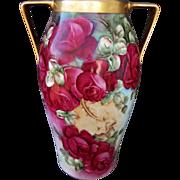 """SALE Limoges H.P. 16"""" Roses Vase w/Handles- artist signed"""
