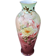 "Hand Painted 17 ¼"" Roses Vase w/Light Aqua Trim"