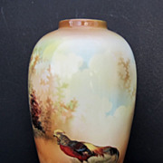 "SALE R.S. Prussia 7"" Golden Pheasants Vase w/Brown Tones"