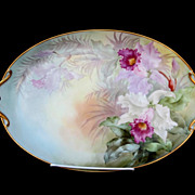 "Paul Putzki Limoges H.P. 14 3/4"" Open Handled Tray- Cattleya Orchid"