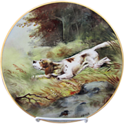 "Limoges H.P. Hunting Dog in Woods Plate- signed ""A. Heidrich"""