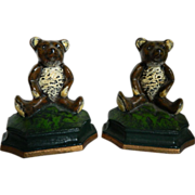 SOLD Cast Iron Teddy Bear Bookends