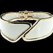 White Hinged Cuff Bracelet