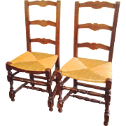 Pair Antique French Ladderback Chairs with Rush Seats