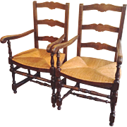 SALE Pair Antique French Ladderback Arm Chairs with Rush Seats