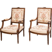 19th century  Louis XVI  tapestry arm chairs