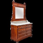 Vintage Mahogany Veneer Dresser with Mirror