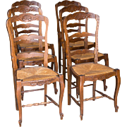6 French antique rush seat chairs