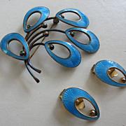 SALE Stellar JEMAX Danish Sterling & Turquoise Enamel Brooch & Earrings