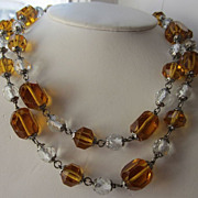 REDUCED Wonderful Art Deco Amber & Clear Crystal Necklace -Downton Abbey Alert