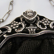 SALE Antique Dutch Ornate 833 Silver Frame Needlepoint Bag/Purse