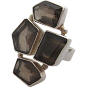 SALE Large Smoky Quartz & Sterling Abstract Moderne Ring