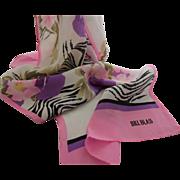 SALE Beautiful Bill Blass Long Floral Designer Silk Scarf