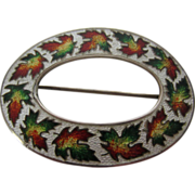 Antique Enamel & Sterling Silver Souvenir Maple Leaf Brooch/Sash Pin, 1904