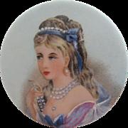 SALE Limoges, France Beautiful Painted Lady Porcelain Medallion