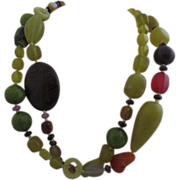 REDUCED Gorgeous Stone Necklace in Autumn Shades of Green, Brown and Orange
