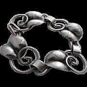 SALE Signed Sterling Silver Leaves & Scrolls Bracelet
