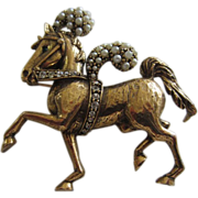 SALE JEANNE Decorated Prancing Horse Brooch