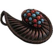 Rare REBAJES Copper & Simulated Coral & Turquoise Swirl Brooch