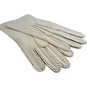 SALE Classic PERRIN Fawn & Black Hand Sewn Gloves, Unused, in French Store Bag, Size 9.5