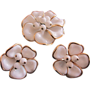 SALE Crown Trifari White Poured Glass Camellias Brooch and Earrings, 1950's, Book Piece