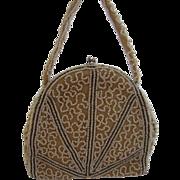 SALE Superb Art Deco Ecru, White & Bronze Beaded Bag, Handmade in Belgium
