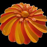 Large 1960's Enamel Flower Pin - Orange and Tangerine