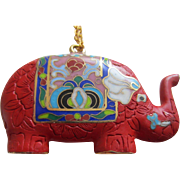 Simulated Cinnabar and Cloisonné Enamel Large Elephant Pendant Necklace