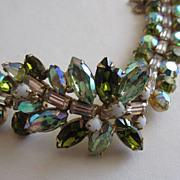 SALE ALICE CAVINESS Wonderful Chunky Green Rhinestone Cocktail Bracelet