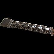 Wide Stylish Silvertone Bracelet with Large Centre Clasp, c. 1940's