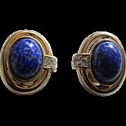Gorgeous CRAFT Simulated Lapis Lazuli and Diamond Earrings, c. 1980's