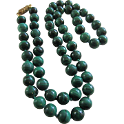 Beautiful Deep Green Malachite Hand Knotted 59 Beads Necklace
