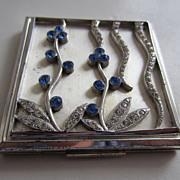 SALE Elgin American Unusual Silver Tone & Blue Rhinestone Powder Compact