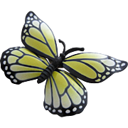 SALE Large Black and Yellow Painted Enamel Butterfly Pin, c. 1960's