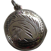 Small Engraved and Chased Sterling Silver Locket - Child, Charm