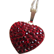 SALE Ruby Red Pavé Swarovski Crystals Heart Pendant and Sterling Chain Necklace