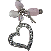 SALE Rose Quartz, Rock Crystal, Pearl and Moonstone Necklace with Heart Pendant and Key - ...