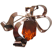Retro Moderne Rose Gold Sterling Vermeil and Large Topaz Rhinestone Bow Brooch, 1940's
