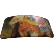 French Hand-made Barrette with Renoir Print, On Original Card, c.1960's-1970's