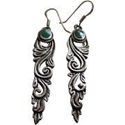SALE Lovely Long Sterling Silver and Malachite Pendant Earrings