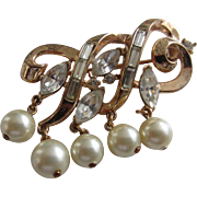 Crown TRIFARI Gold Plated Swirl Brooch with Clear Rhinestones and Simulated Pearl Dangles, ...
