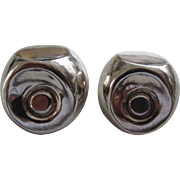 Signed Mexican Sterling Silver Modernist Earrings