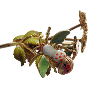 Great CASTLECLIFF Enamelled Insects Trembler Brooch